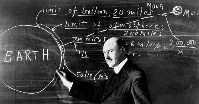 Robert Goddard at a blackboard