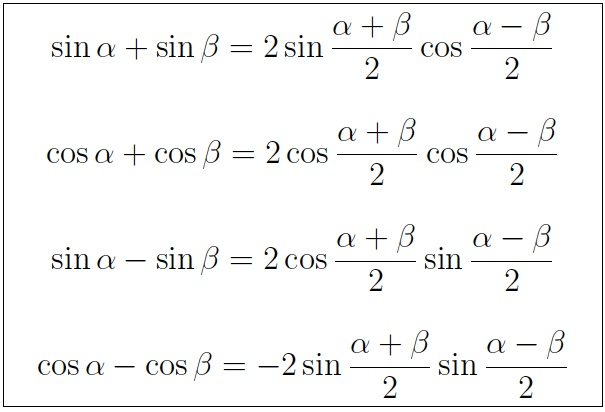 Quick Review of Topics in Trigonometry: Sum, Differences & Product Formulas (Quick Review Notes)